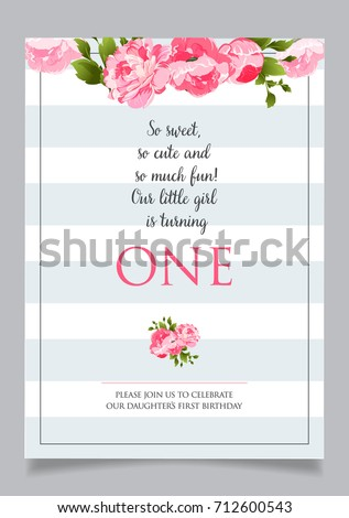 First birthday invitation girl one year stock vector 712600510 first birthday invitation for girl one year old party printable vector template with stripes stopboris Gallery