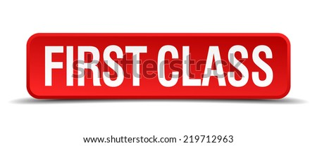 first class red 3d square button isolated on white background