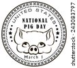 First of March - National Day of Pigs in the United States. Vector illustration. - stock vector