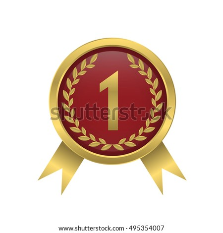 First place icon Golden number one Champion award Vector illustration