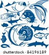 Fish Collection - stock vector