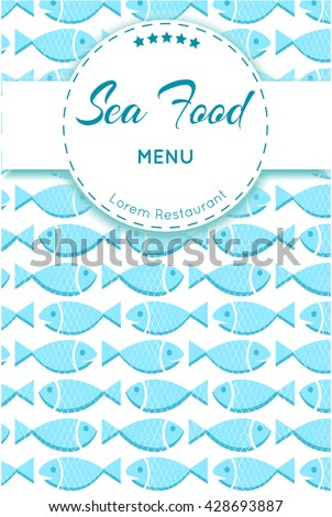 Fish menu with scale texture. Vintage seafood background. Sea food template design for restaurants. Vector Illustration