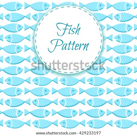 Fish seamless pattern with scale texture. Vintage seafood background. Sea food design. Vector Illustration