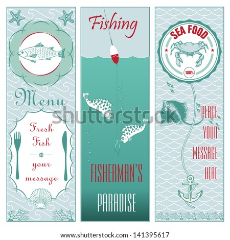 Fish set vertical banners
