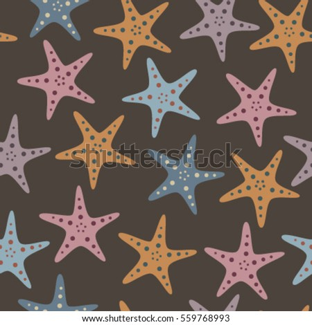 fish stars on brown seamless pattern