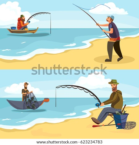 Fisherman surf casting sea moon background stock for Fishing rod sun and moon
