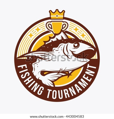 Fishing badge template. Vintage retro badge for fishing event.