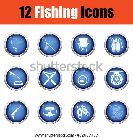 Fishing icon set.  Glossy button design. Vector illustration.