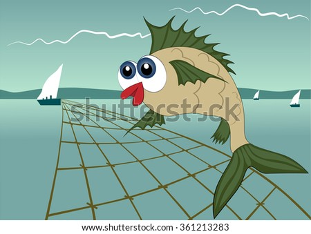 Fishing on the river background. Vector illustration