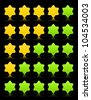Five six-pointed stars ratings web button. Green and yellow shapes with shadow and reflection on black, 10eps. - stock vector