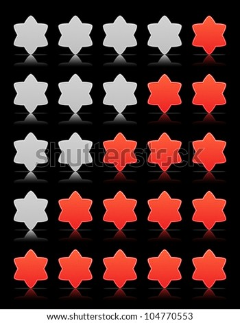 Five six-pointed stars ratings web button. Red and gray shapes with shadow and reflection on black, 10eps.