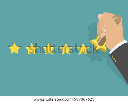 Five star rating isometric vector illustration. Man's hand printed five stars by the hand stamp. Customer feedback, vote, award.
