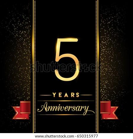 5 Years Anniversary Celebration Logo Confetti Stock Vector ...