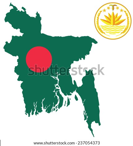 Flag and national emblem of the Peoples Republic of Bangladesh overlaid on outline map isolated on white background