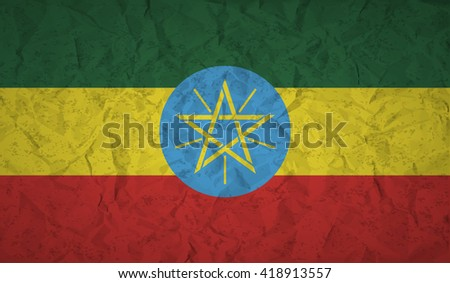 Flag  of Ethiopia with the effect of crumpled paper and grunge