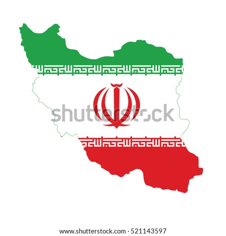 Flag of Iran in map
