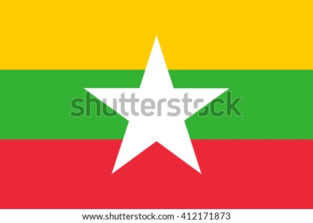 Flag of Myanmar in correct proportions and colors