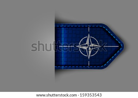 Flag of nato in the form of a glossy textured label or bookmark