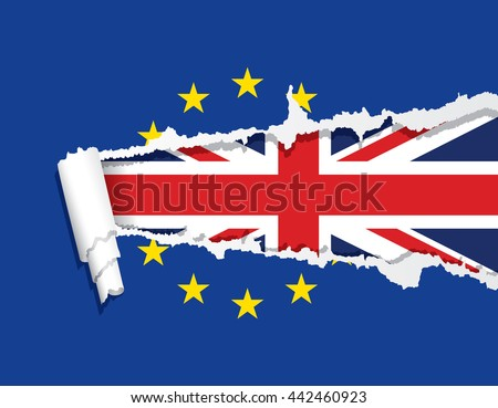 Flag of the United Kingdom under ripped flag of the European Union, Brexit, vector illustration.
