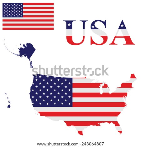 Map Usa Hat Flag On White Stock Vector Shutterstock - Us alaska hawaii no states vector map