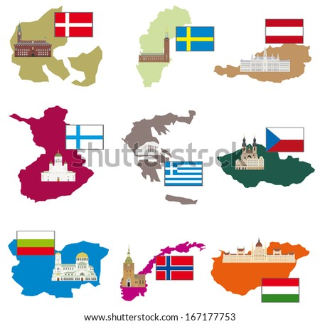 Flags and countries. Vector collection