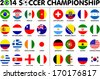 Flags for soccer championship 2014. Groups A to H. 8 groups. 32 nations. 2d circle designs. Carefully designed. - stock photo