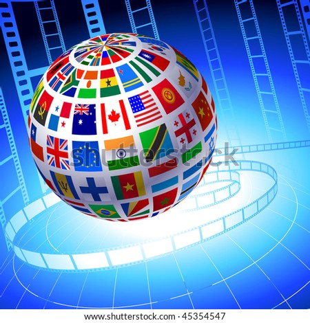 Flags Globe with Film Reel background Original Vector Illustration