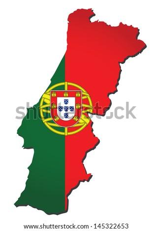 Map Portugal Flag Colors D Render Stock Illustration - Portugal map flag