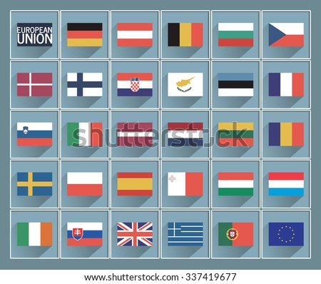 Flags of European union with long shadows, set of member states EU, vector