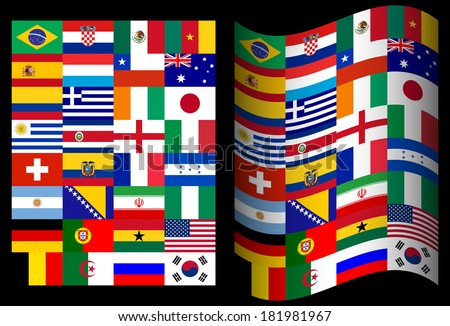 Flags of participating countries in Brazil on a black background