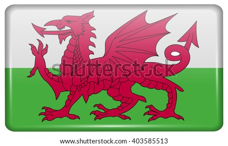 Flags of Wales in the form of a magnet on refrigerator with reflections light. Vector illustration
