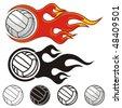 Flaming volleyball ball. Vector illustration. - stock vector