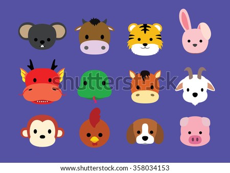 Flat Animal Faces Icon Cartoon (Chinese Zodiac)