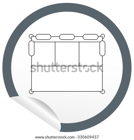 Flat bed icon on sticker for floor plan outline. Line editable EPS10 vector furniture illustration. View from above