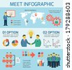 Flat business people meeting infographics design layout template with icons vector illustration - stock vector