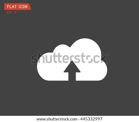 Flat Cloud upload icon, abstract logo, Vector illustration