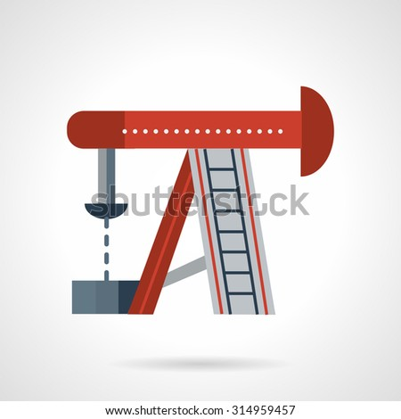 Flat color style vector icon for red oil rig. Research, drilling well. oil extraction industry. Design elements for business and website