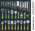 flat color various kitchenware cutlery equipment set - stock