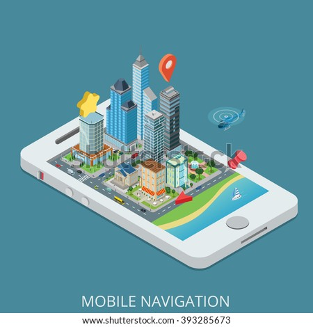 Flat 3d isometric creative mobile city navigation web infographics concept. Smartphone with street buildings office skyscraper bank mall shop map pin route destination.