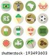 Flat Design Brazil Icons Set - stock photo