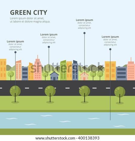 Flat design landscape illustration stock vector 319714691 for Mountain designs garden city