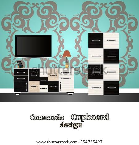 Flat Design Commode Icon Cupboard Symbol Furnitureinterior Room