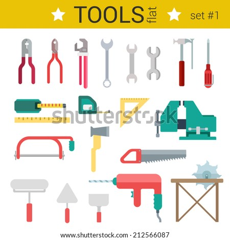 Flat design construction tools instrument vector icon set. Roulette, circular saw, wrench, screwdriver, vise, ax, trowel, drill. Flat objects collection.