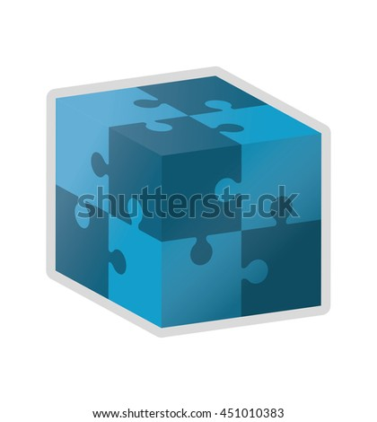 flat design cube in puzzle piece icon vector illustration