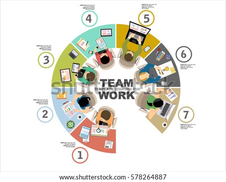 Group Business People Working Office Table Stock Vector