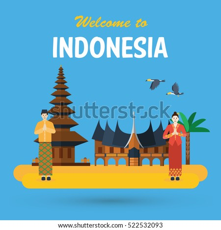 Flat design Indonesia, Pura Ulun Danu Bratan, Hindu temple, traditional house and national costume of Indonesia