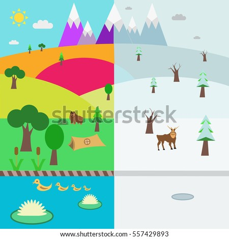 Flat design style vector illustration -summer and winter landscape with mountains,forest,lake,tourist tent and wild animals.