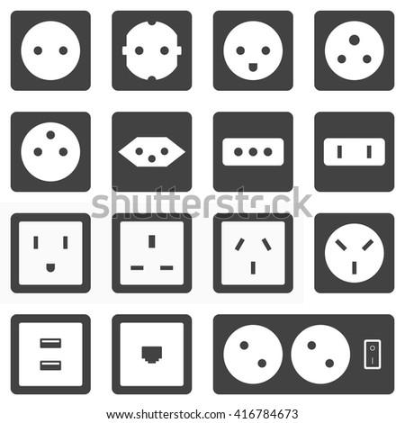 Flat Design Various Black Grey Electrical Outlet Power Socket Types Icon Set