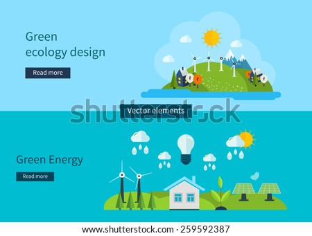 Flat design vector concept illustration with icons of ecology, environment, green energy and eco friendly. Vector illustration