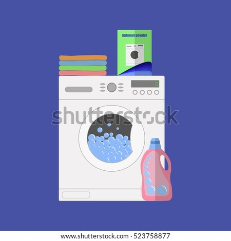 Flat design vector illustration of modern washing machine with linen. Washing clothes. Powder and cleanser. Water with bubbles. Pile of clothes.